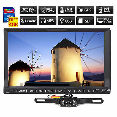"Samsung CD Head 2 Din 7"" Car GPS Nav DVD Radio Player AUX iPod Bluetooth+Came​ra"