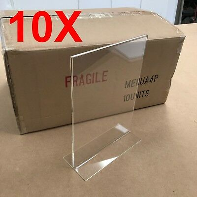 10 X A4 Portrait Menu/Sign Holders - Clear Acrylic Double Sided