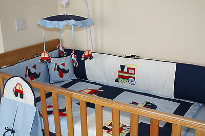 Baby boy's blue cotbed / cot BUMPER only (nursery, bedding)  100% cotton
