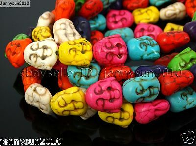 Mix Color Howlite Turquoise Gemstone Happy Face Buddha Head Beads 15.5''  Strand