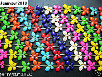 Mix Color Howlite Turquoise 20mm Butterfly Loose Spacer Beads 15.5 Inches Strand