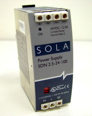 SOLA SDN 2.5-24-100 DIN Power Supply 24VDC 2.5A Class 2