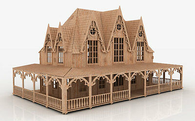 FTV 3D Puzzle CNC Router Doll House Pattern Laser Plan DXF Dollhouse ScrollSaw