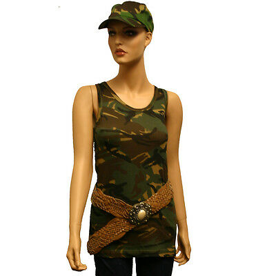 Womens Girls Fancy Dress Costume DPM Camo Army Military Vest Tank Top Camouflage