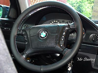 For Bmw 5-Series E39 Black Real Leather Steering Wheel Cover M3 Stitching 95-04