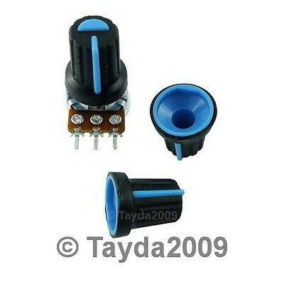 10 x Black Knob with Blue Pointer - Soft Touch - High Quality - Free Shipping