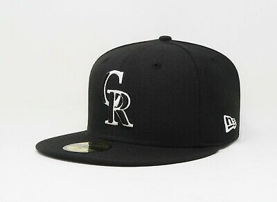 online store 83b6a 0f38c New Era 59Fifty Hat Mens MLB Colorado Rockies Black White Custom Fitted  5950 Cap