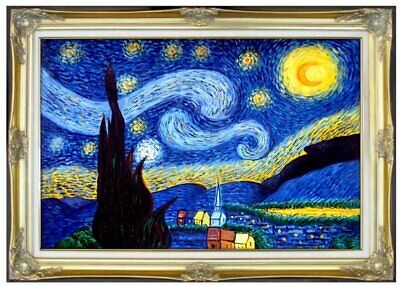 Framed Van Gogh Starry Night Repro, Hand Painted Oil Painting 24x36in