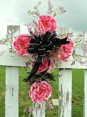 Grave Flower Pink Peonies Cemetery Cross Door Window Wall Religious Decor