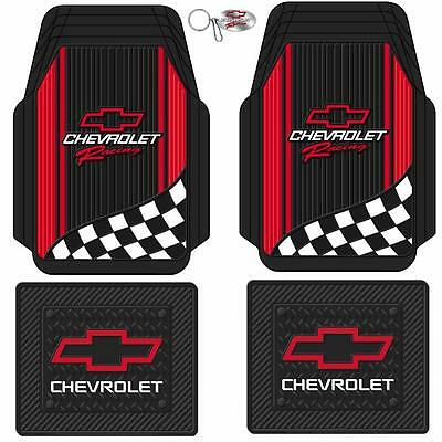5pc Chevrolet Chevy Red Bow tie Racing Style Black Rubber Floor Mats Key chain
