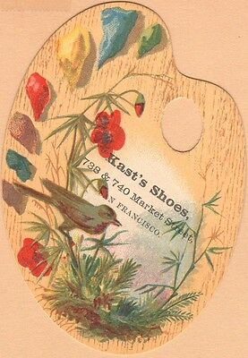 Die Cut Victorian Trade Card-Kast's Shoes-San Francisco, CA-Bird & Flowers
