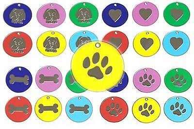 Pet ID Tag, ENGRAVED FREE, 25mm Quality Tags, 8 Colours & 4 Designs, Posted Fast