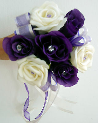 Flowergirl Wedding Posy 14cm, Purple and ivory foam roses with diamante