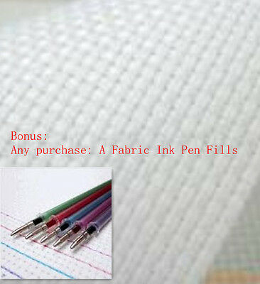 $(Free Fabric Pen Fills)+ 100% Cotton 11CT Aida Cloth Cross stitch Fabric-White