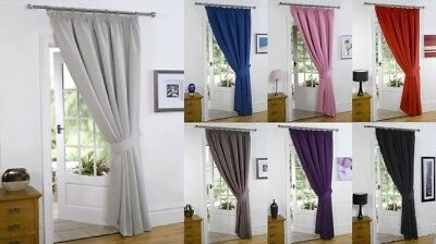 """Thermal Blackout Curtains Pencil Pleat Tape Top Door Curtain 66"""" x 84""""+ TIE BACK"""