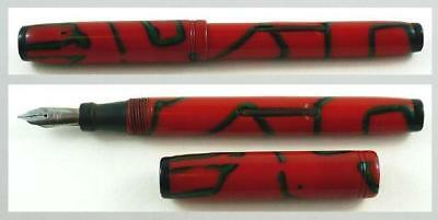 Nice Vintage Red with Green & Black Fountain Pen EZE FLO