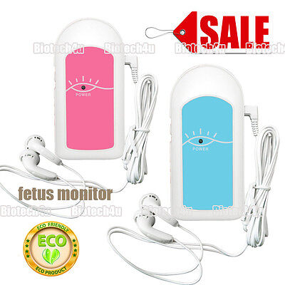 FDA/CE Baby Sound A pocket Fetal Doppler Baby heart rate Monitor,Gel,Pink CONTEC