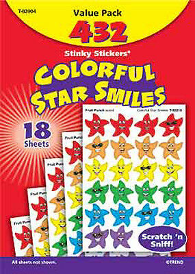 432 Colourful Star Smiles Scratch and Sniff Stinky Reward Stickers Variety Pack