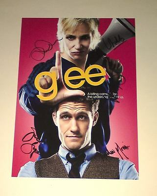 "GLEE CAST X5 PP SIGNED POSTER 12X8"" Jane Lynch N2"