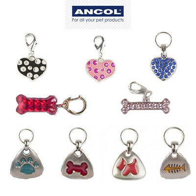 New Ancol Charm ID Tags Pet Dog Cat Collar Name Silver Bling Diamante Heart Pink