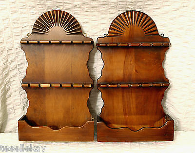 Pair of Primitive ANTIQUE CARVED WOODEN Spoon Racks with SUNBURST FINIALS