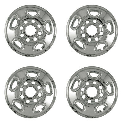 "Wheel Skin set for Chevy 16"" Inch 8 Lug CHROME Hub Cap 5 Spoke Steel Rim Covers"