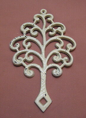 Vintage Cast Iron Trivet Family Tree Shabby Painted White T-3