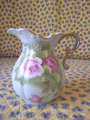 """Vintage Mint Condition - Handpainted Lefton Heritage Green 6"""" Pitcher-Signed/No."""