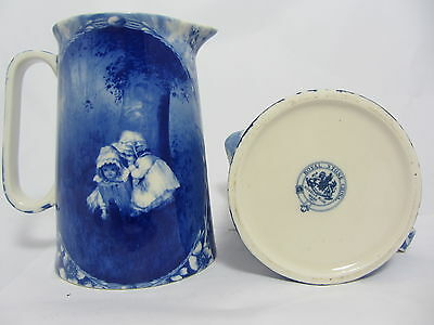 """Royal Stone Flow Blue 8.75"""" Jug In The Design Of Two Girls"""