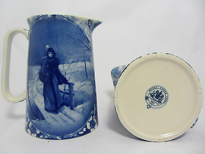 """Royal Stone Flow Blue 8.75"""" Jug In The Design Of Lady On A Bridge"""