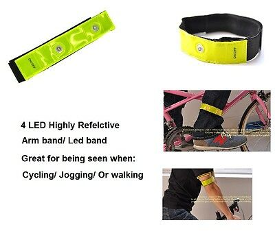 HIGH VISIBILITY HI VIZ REFLECTIVE ARM BAND ANKLE 4 FLASHING LEDs CYCLING JOGGING