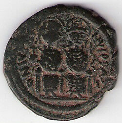 Justin II and Sophia I (565-578) AE Follis, Sear 360 (s11)