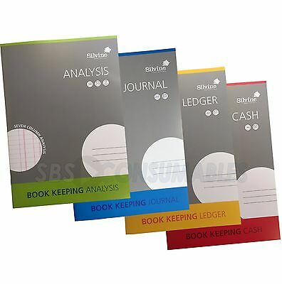 Silvine A4 Accounts Books Keeping Cash / Journal / Analysis / Ledger. 32 Page.
