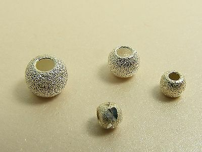 5 x 925 STERLING SILVER Round STARDUST Spacer BEAD Findings ~3mm/ 4mm/ 5mm/ 6mm~
