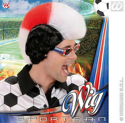 White /& Red Mohican Wig St Georges Day Cross England Footbal Mohawk Fancy Dress