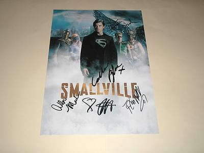"""Smallville Cast X5 Pp Signed 12""""x8"""" Poster Tom Welling"""