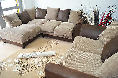 Brown & Beige DYLAN Jumbo Cord Fabric Corner + 2 Seater Sofa (Left & Right)