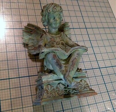 "9.5"" Tall Book Reading Boy Fairy W Butterfly Candle Holder Antiqued Copper Look"