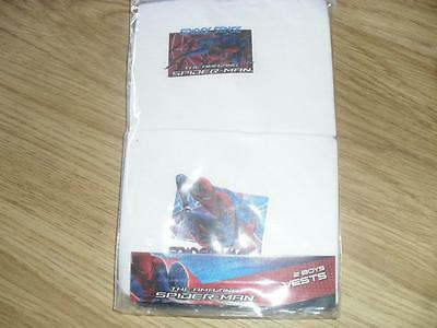 Brand new Pack of 2 Boys White Spiderman Themed Vests