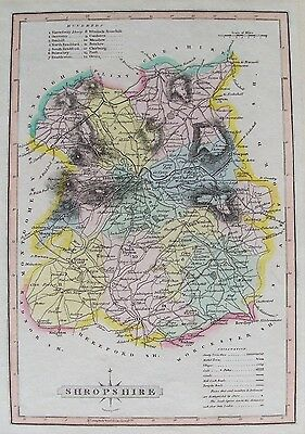 OLD ANTIQUE MAP SHROPSHIRE by J WALLIS 1816 19thC ORIGINAL HAND COLOUR ENGRAVING