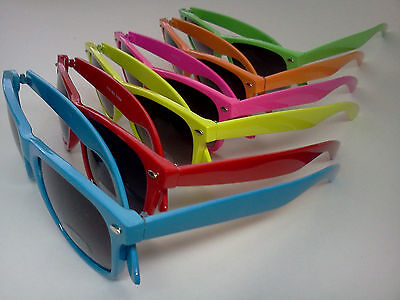 80s Retro Neon Hipster Wayfarer Style UV400 Summer Party Sunglasses w/ pouch