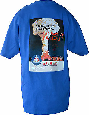 RETRO CIVIL DEFENSE T-SHIRTS FROM ORIG. POSTER DESIGNS ( Fall-Out-BLUE)