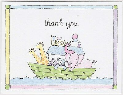 NOAH'S ARK THANK YOU CARDS Party Notes 1st Birthday Baby Shower Child Cute NEW