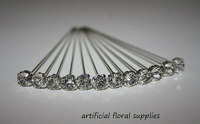 12 LUXURY choose your size! CLEAR DIAMOND diamante pins WEDDING FLOWERS