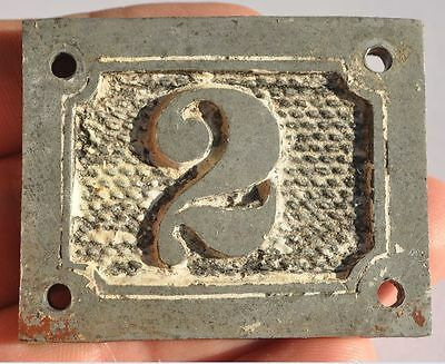 1900s Imperial Russia Apartment Flat Door Number Sign #2 RARE WM EMBOSSED TYPE