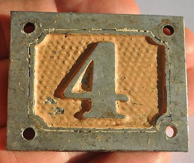 1900s Imperial Russia Apartment Flat Door Number Sign #4 RARE WM EMBOSSED TYPE