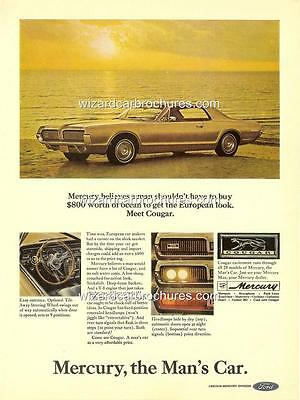1967 Ford Mercury Cougar A3 Poster Ad Sales Brochure Advertisement Advert