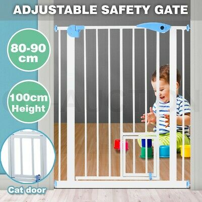 80-90cm Metal Toddler Baby Pet Security Safety Gate Cat Door Barrier Extendable