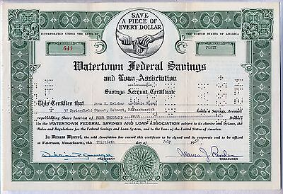 Watertown Federal Savings And Loan Association Stock Certificate Bank Mass.