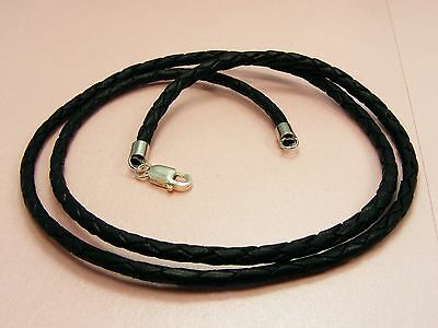 ~Custom Made~ 925 STERLING SILVER 3mm Braided LEATHER Choker Cord NECKLACE